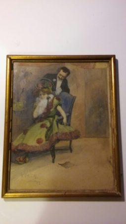 akwarela czeskiego artysty, antyki na sprzedaż